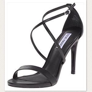 Steve Madden Felix Black Leather Heels Sandals